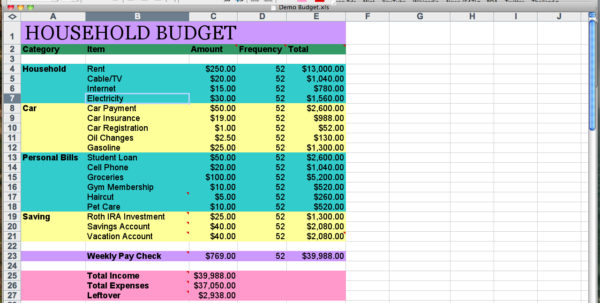 How To Setup A Spreadsheet For Household Budget Regarding Setup A Spreadsheet For Household Budget As Excel Compare