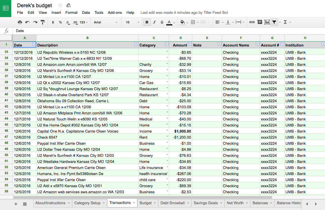 How To Spreadsheet Budget In Rockstar Review: Tiller A Way To Automate Your Budget Spreadsheets!