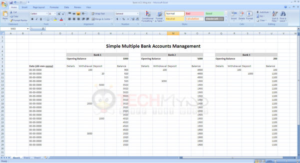 How To Start An Excel Spreadsheet In Manage Bank Accounts Using Simple Excel Sheet  Freebies  Techmynd