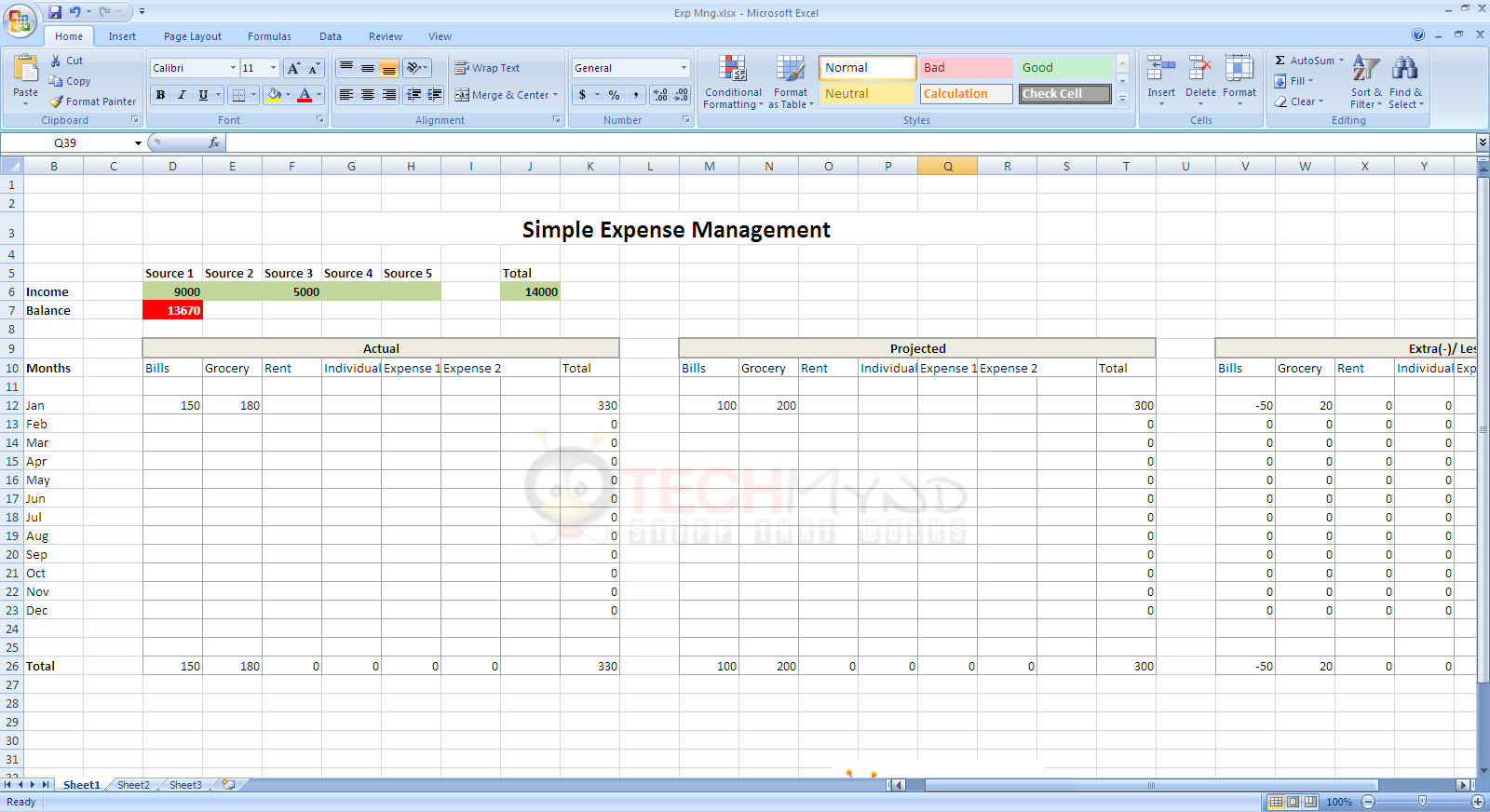 How To Start An Excel Spreadsheet With Expense Management Using Simple Excel Sheet  Freebies  Techmynd
