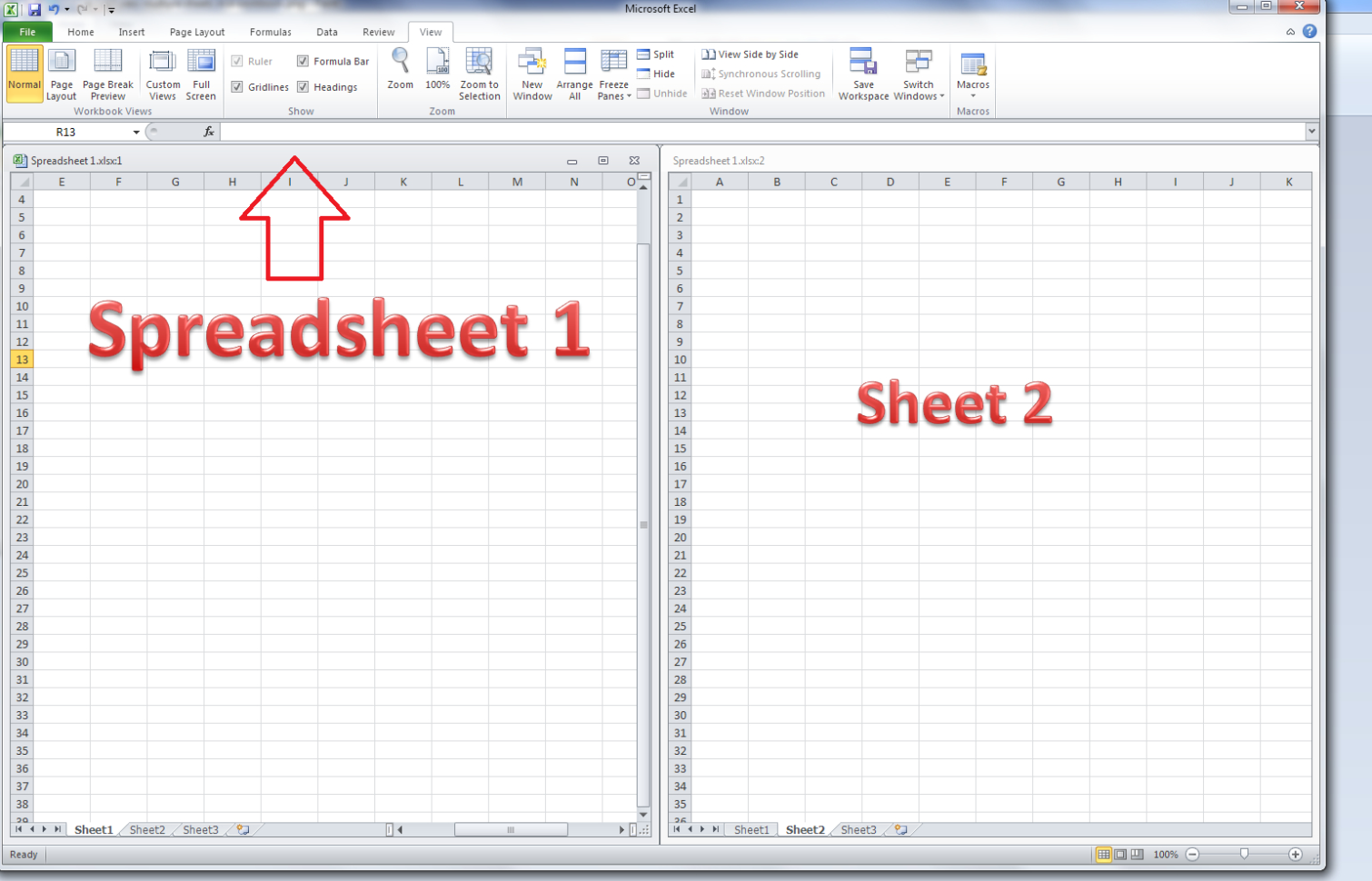 How To Use Excel 2010 Spreadsheets Pertaining To How Do I View Two Excel Spreadsheets At A Time?  Libroediting