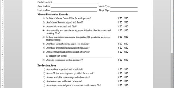 Hr Audit Spreadsheet With Quality Audit Checklist Iso Template