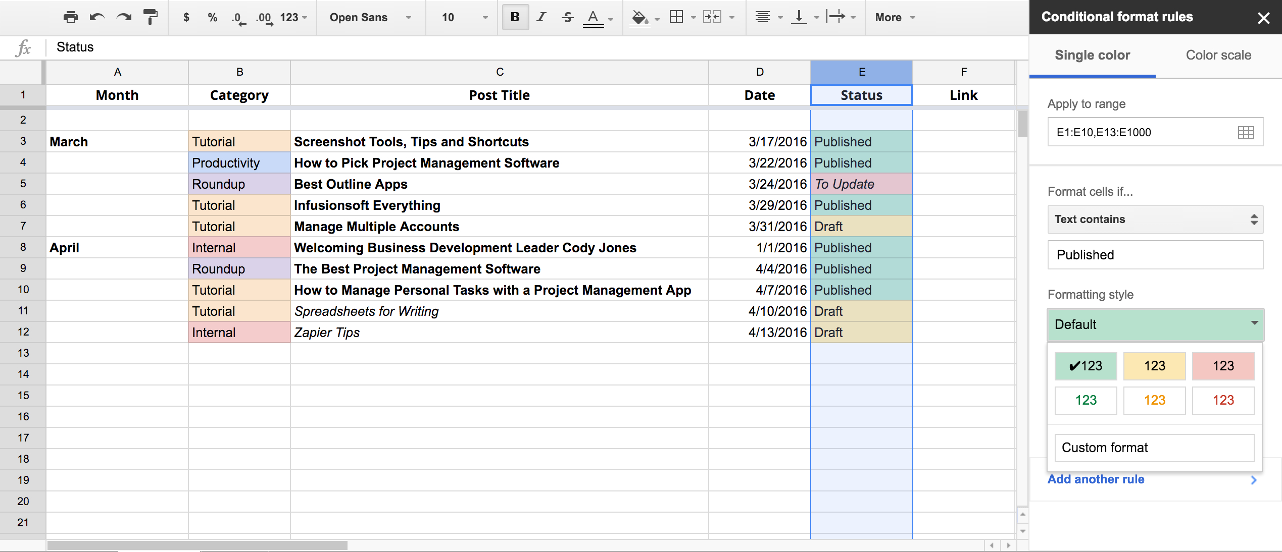 Html Spreadsheet Example In Write Faster With Spreadsheets: 10 Shortcuts For Composing Outlines