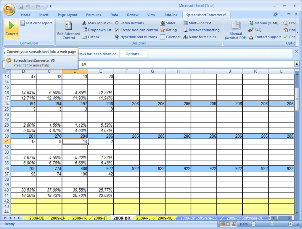 Html Spreadsheet Form With Regard To Spreadsheetconverter To Html / Javascript  Download