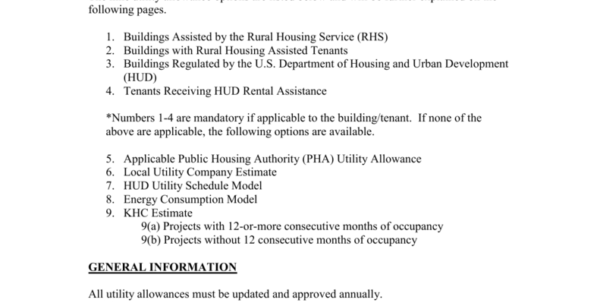 Hud Utility Allowance Spreadsheet For Utility Allowance Rules For Housing Credit And/or Home Properties