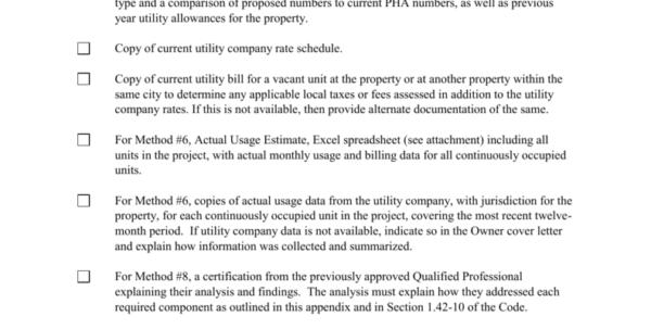 Hud Utility Allowance Spreadsheet In A. Wshfc Owner Utility Estimate Checklist  Methods 6