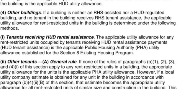 Hud Utility Allowance Spreadsheet Intended For Low Income Housing Tax Credit Program Income Tax Regulation 26 Cfr