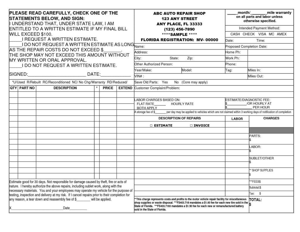 Hvac Estimating Spreadsheet pertaining to Hvac Estimate Template And 14 Best Photos Of Auto Repair Invoice