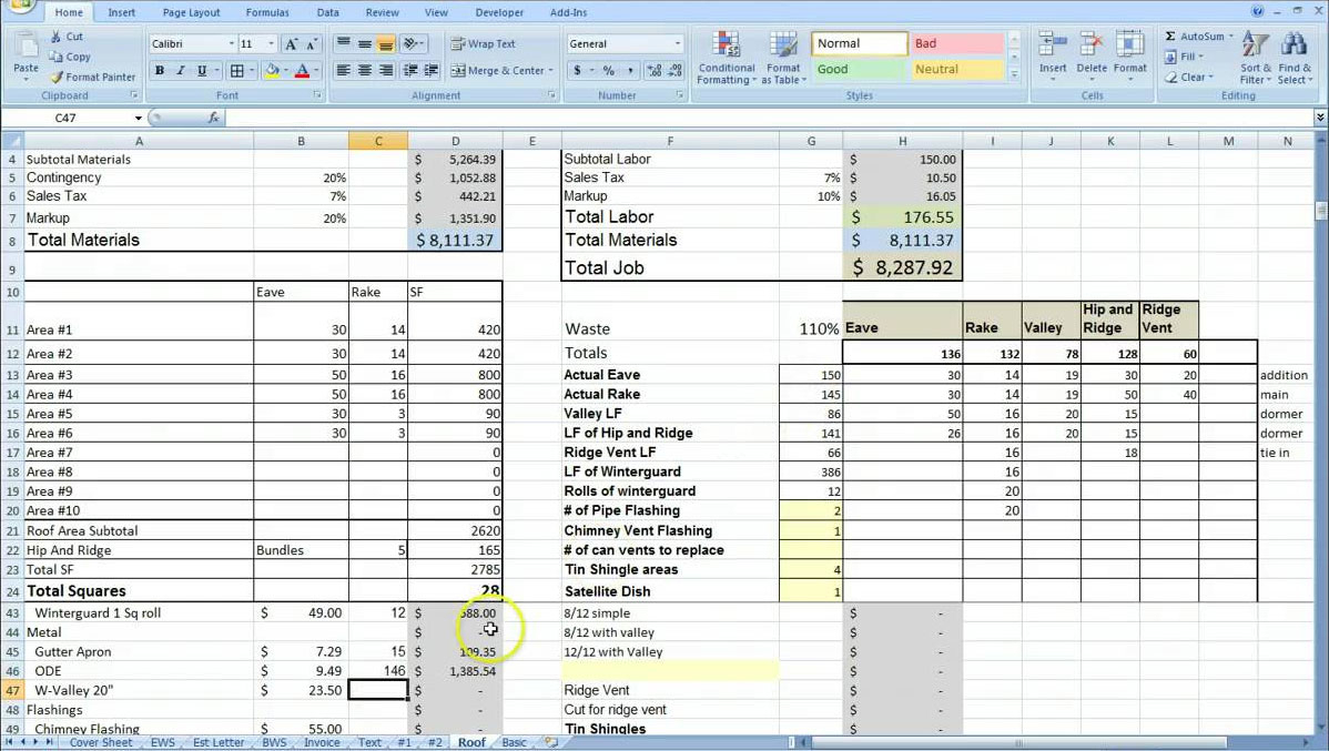 Hvac Estimating Spreadsheet Regarding Cost Estimating Sheet With Excel For The General Contractor