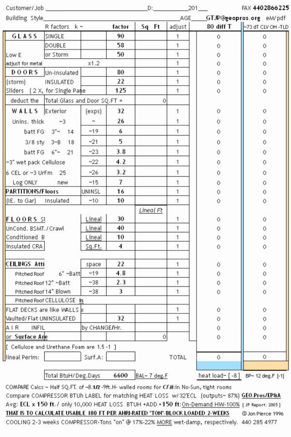 Hvac Load Calculation Spreadsheet In Hvac Load Calculation Spreadsheet New How To Create An Excel