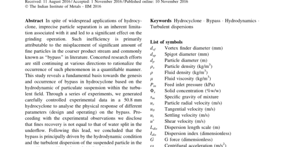 Hydrocyclone Design Spreadsheet Within Two Empirical Hydrocyclone Models Revisited  Request Pdf