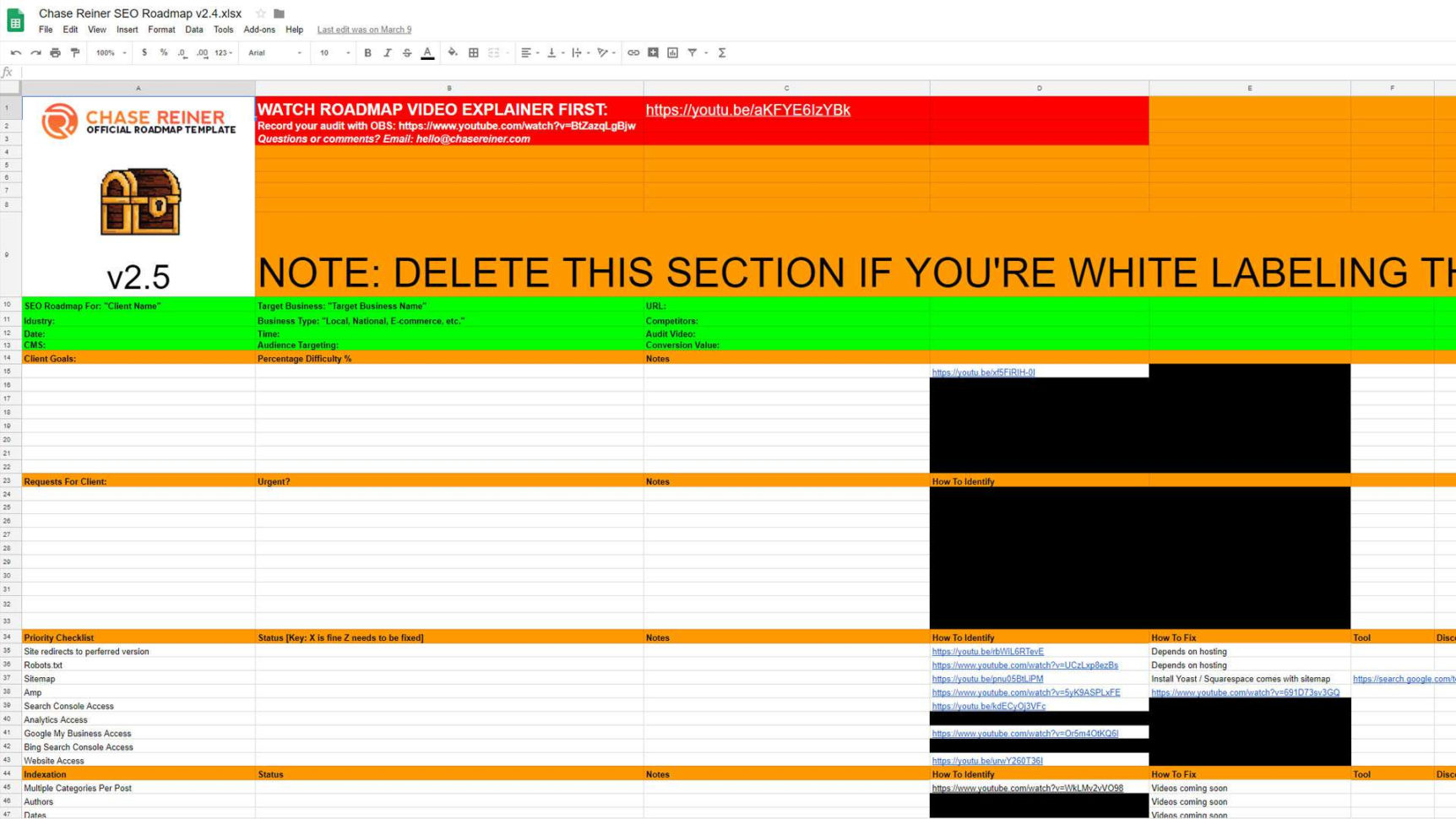 I 9 Audit Spreadsheet Pertaining To Seo Audit Checklist The Ultimate 2019 Seo Roadmap Template