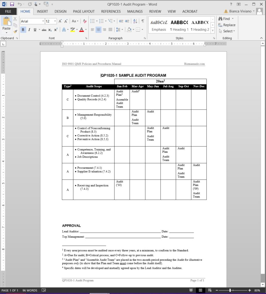 I 9 Audit Spreadsheet Regarding Audit Program Iso Template