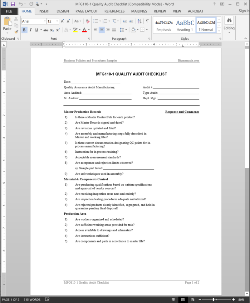 I 9 Audit Spreadsheet Within Manufacturing Quality Audit Checklist Template  Mfg1101