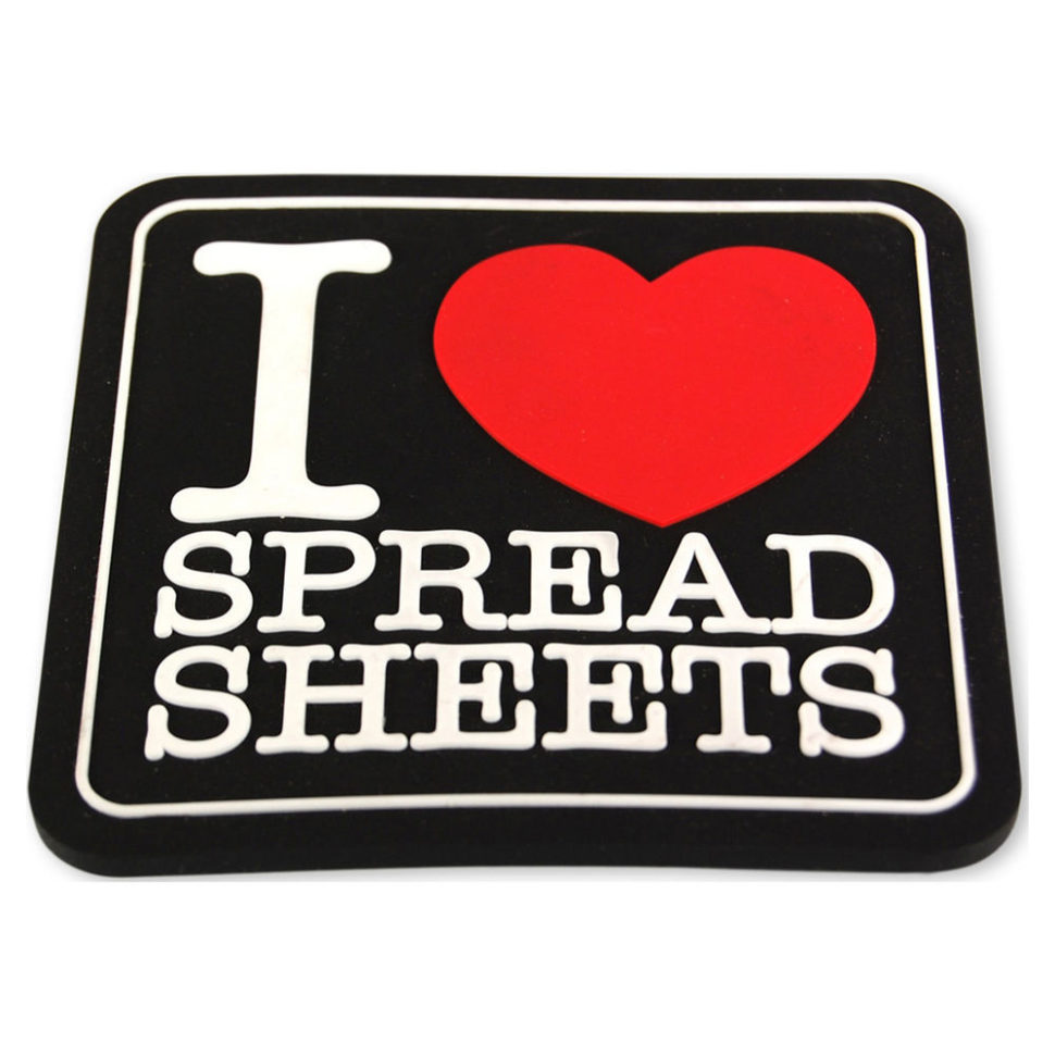 I Love Spreadsheets Coaster Intended For I Love Spreadsheets Coaster. Cool Funky Office Desk Accessory