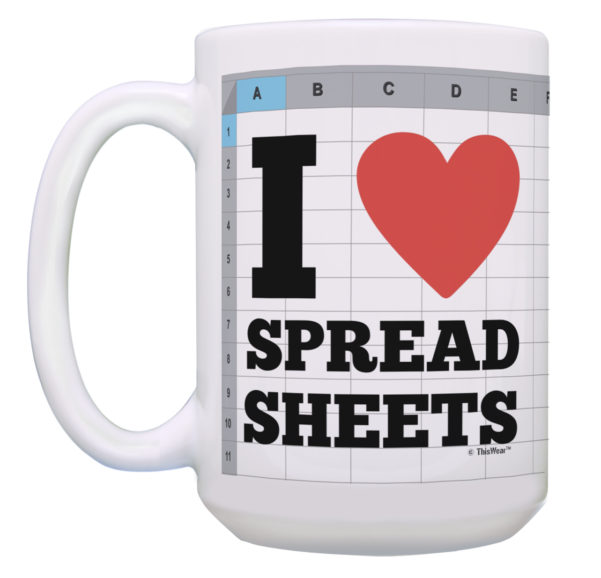 I Love Spreadsheets Gifts Regarding Cpa Gift I Heart Spreadsheets Bookkeeper Gifts For Women 15Oz Coffee