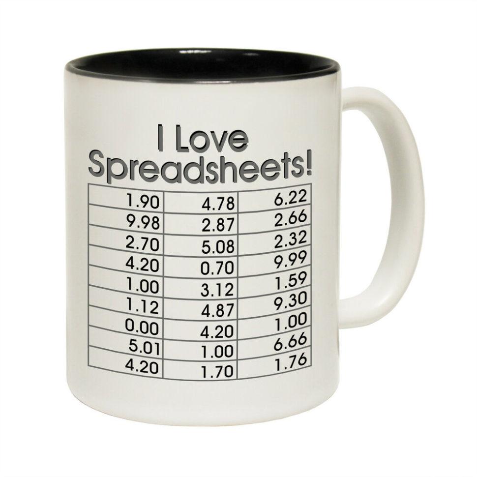 I Love Spreadsheets Mug Australia Intended For I Love Spreadsheets Tea Coffee Mug Novelty Accountant Boss Joke