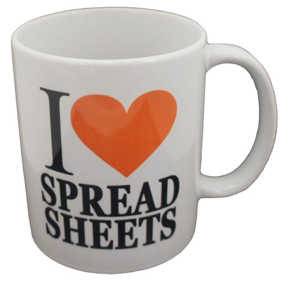 I Love Spreadsheets Mug Debenhams Intended For I Heart Spreadsheets Mug I Love Spreadsheet Novelty Gift Present