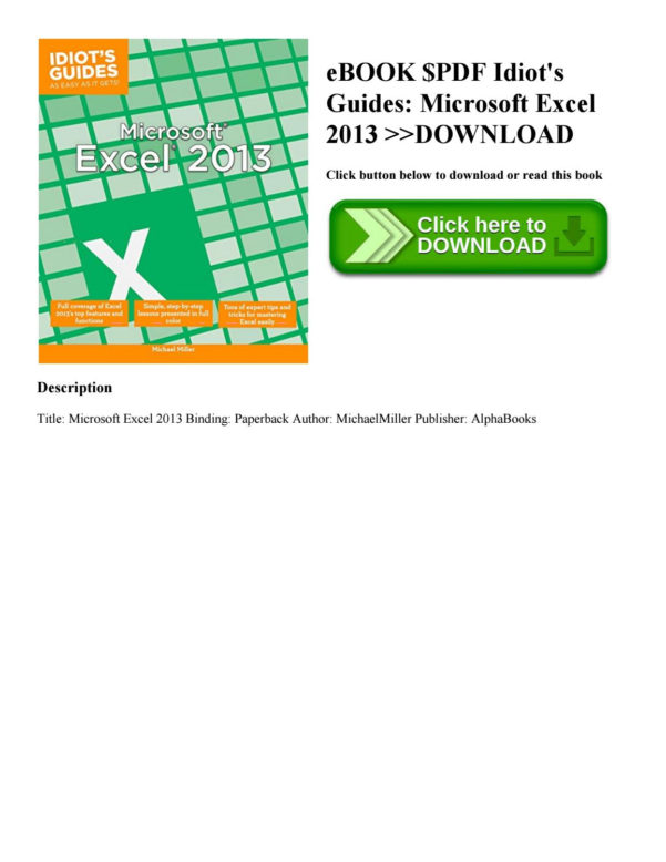 Idiot's Guide To Spreadsheets In Ebook $Pdf Idiot's Guides Microsoft Excel 2013 Download