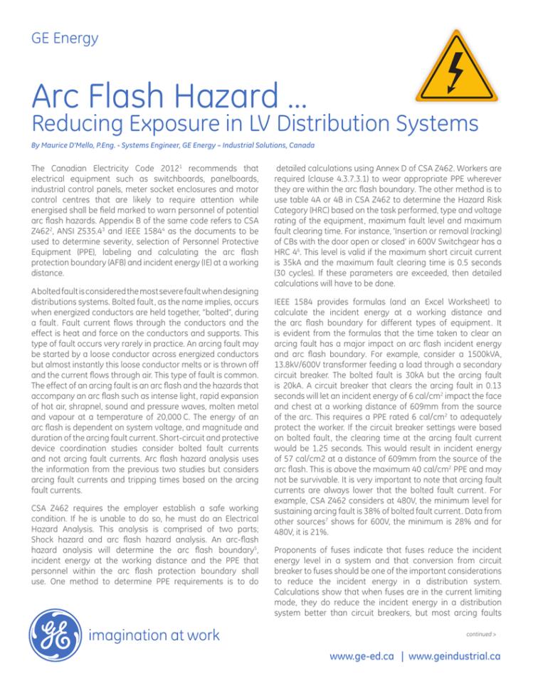 Ieee 1584 Arc Flash Hazard Calculator Excel Spreadsheet Regarding Arc Flash Hazard  Ge Industrial Solutions