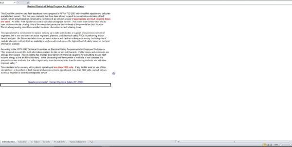 Ieee 1584 Arc Flash Hazard Calculator Excel Spreadsheet With Regard To Hanford Electrical Safety Program Arc Flash Calculator  Eloquens