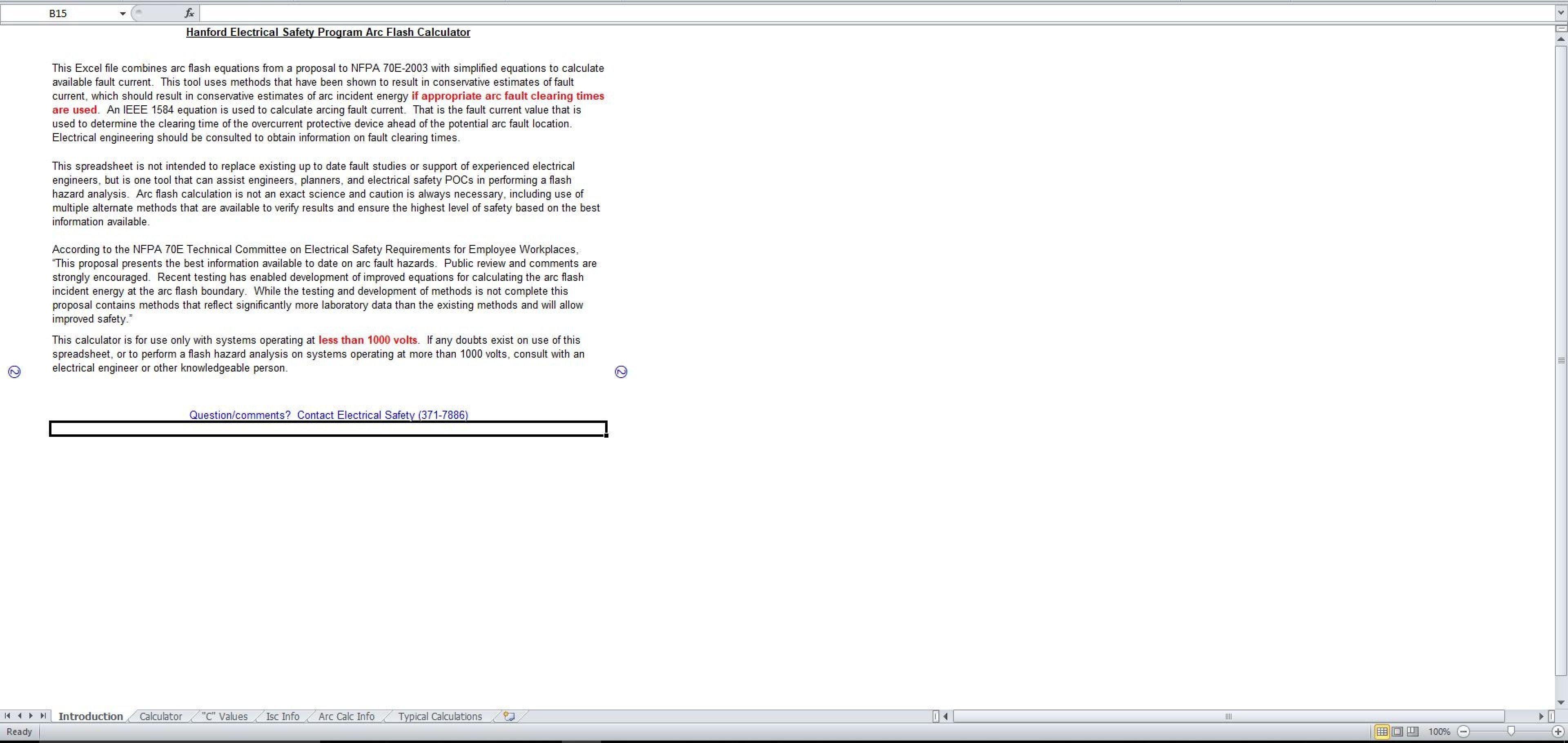 Ieee 1584 Spreadsheet Calculator Throughout Hanford Electrical Safety Program Arc Flash Calculator  Eloquens