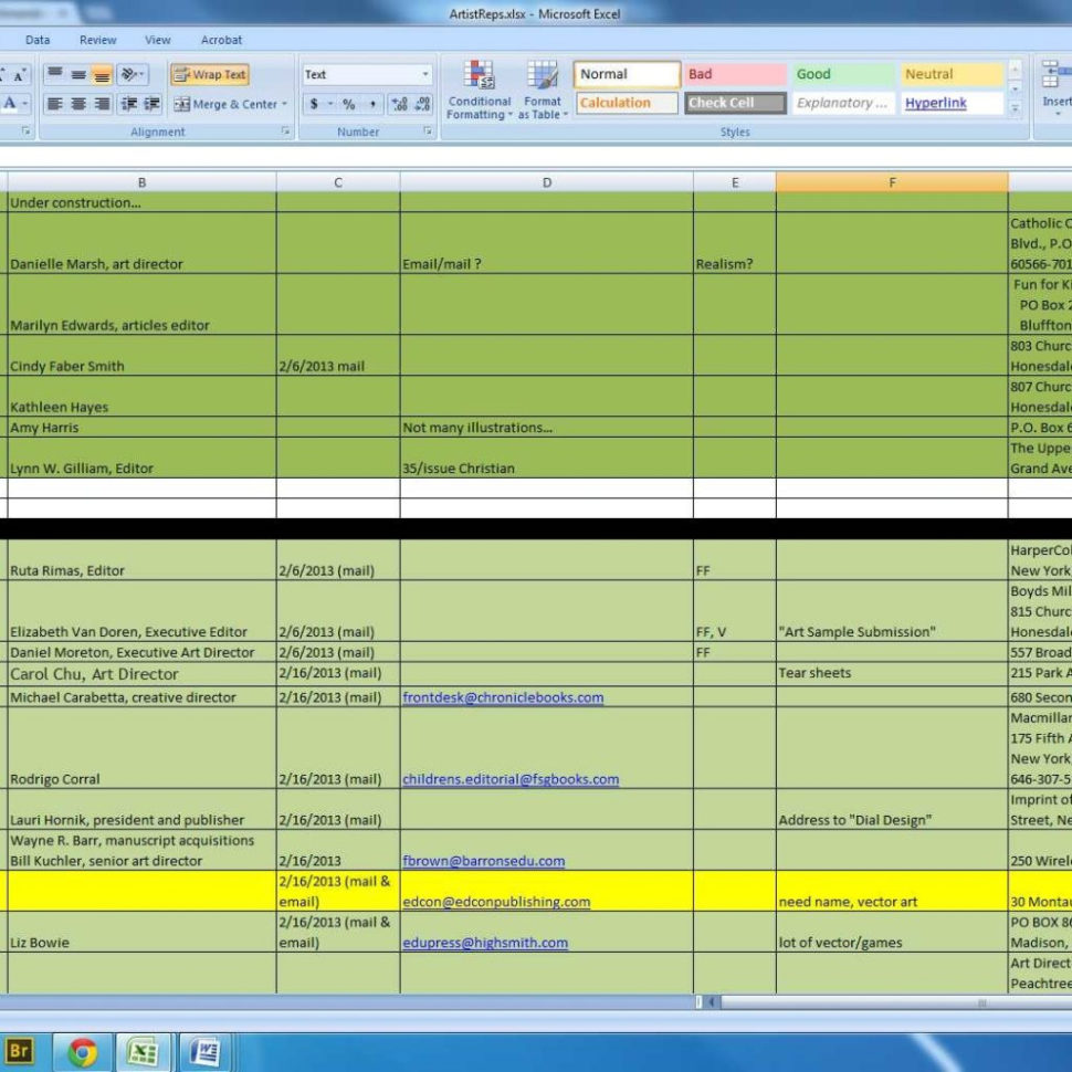 Illustrator Spreadsheet Within Amanda's Creative Studios  What Every Illustrator Should Know