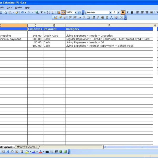 Income Spreadsheet Excel With Business Expense And Income Spreadsheet Expenses Template For Small