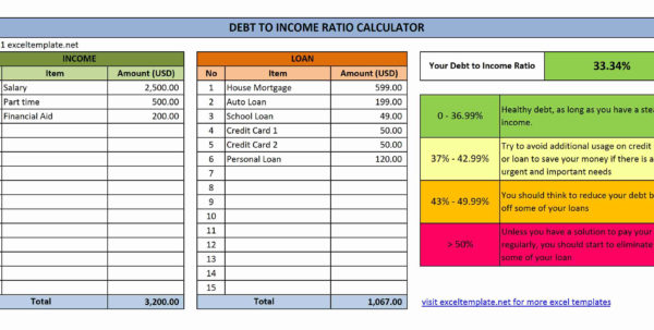 Income Spreadsheet Excel With Debt To Income Ratio Calculator  Excel Templates Income Spreadsheet Excel Spreadsheet Download