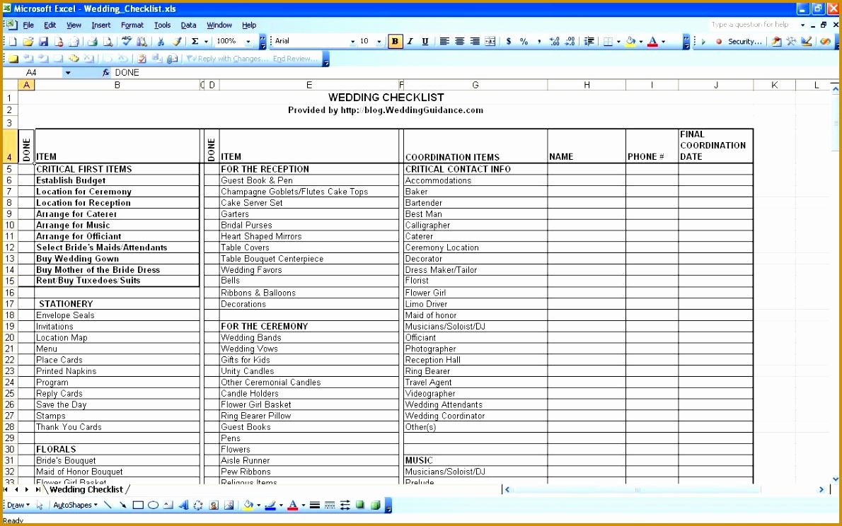 Indian Wedding Checklist Excel Spreadsheet Within 3 4 Wedding Planning Checklist In Excel 626Reserve Com Planner