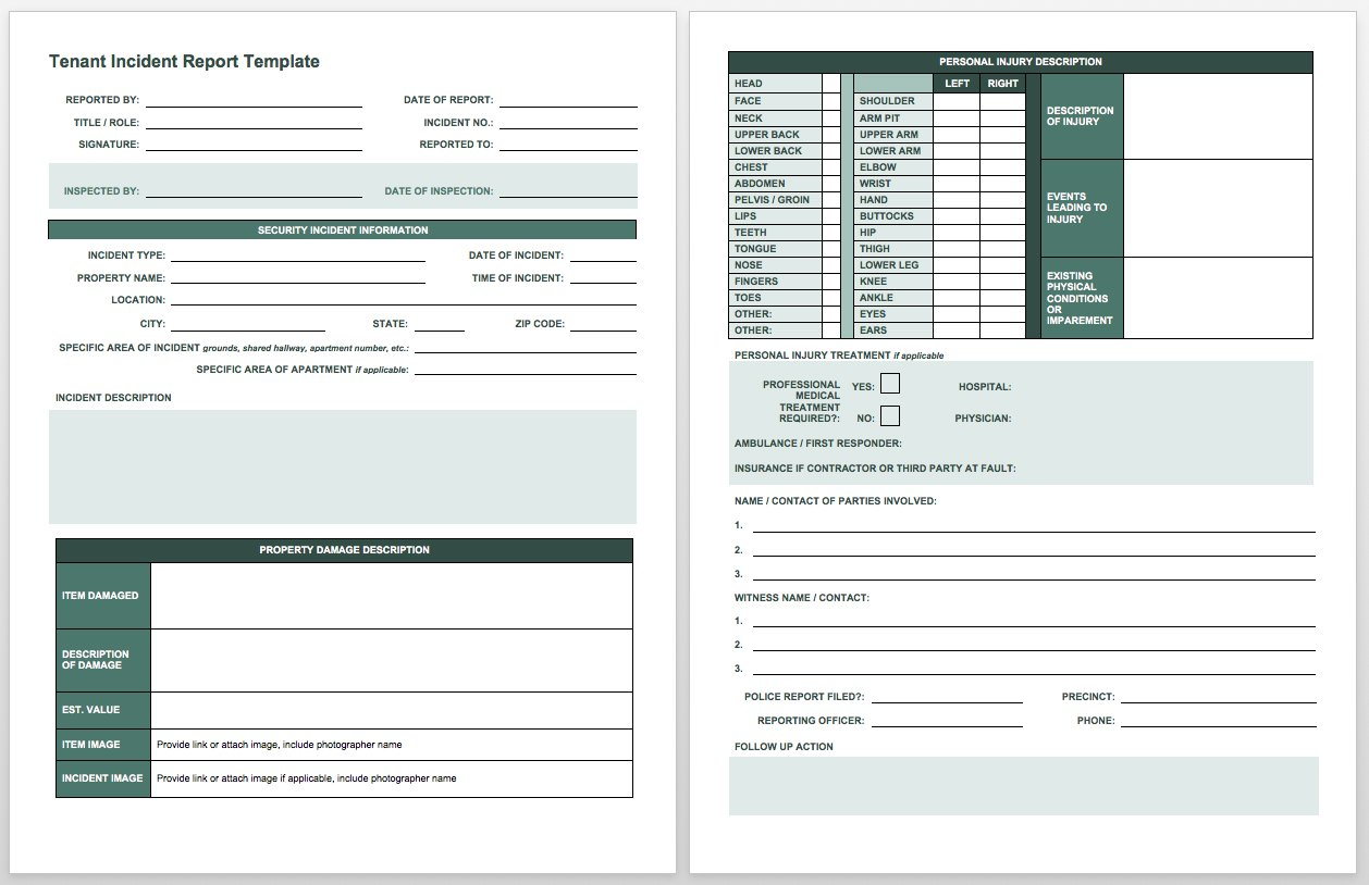 Injury Tracking Spreadsheet Intended For Free Incident Report Templates Smartsheet
