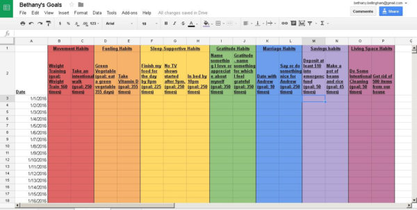 Injury Tracking Spreadsheet Intended For The Rainbow Spreadsheet! Habit Tracking Template  Power, Peace