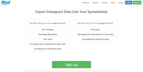 Instagram Spreadsheet In Magi Metrics  Betapage