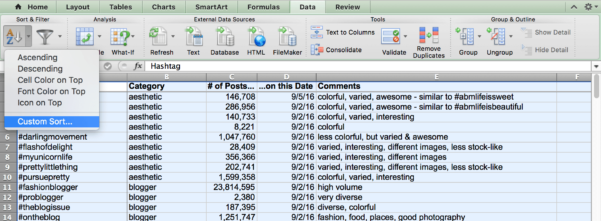 Instagram Spreadsheet Regarding Organize Your Instagram Hashtags To Help Drive Traffic To Your Site