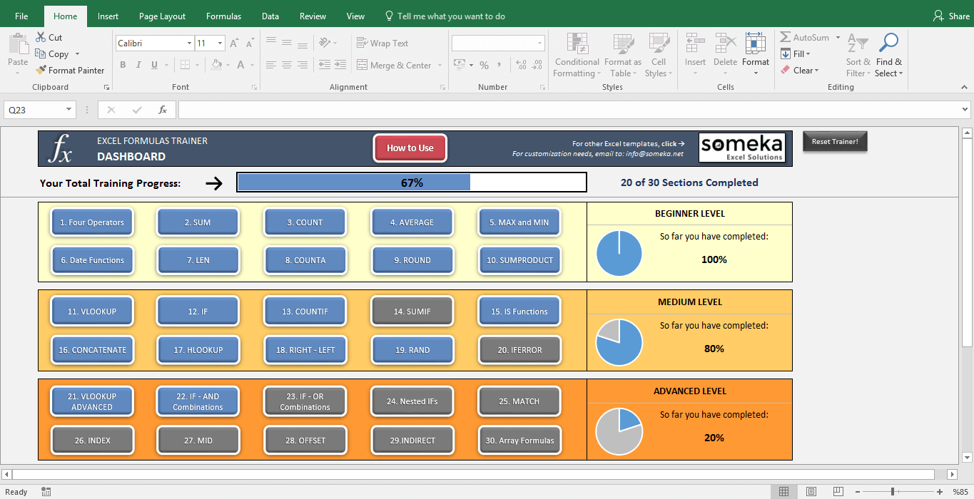 Interactive Excel Spreadsheet Pertaining To Excel Formulas Trainer  Full  Practice Workbook  Learndoing!