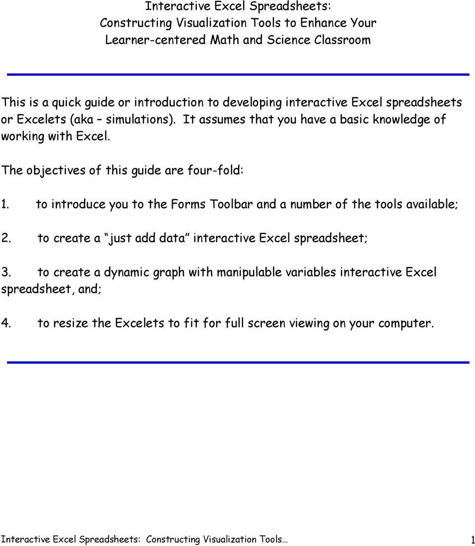 Interactive Excel Spreadsheet Regarding Interactive Excel Spreadsheets:  Pdf