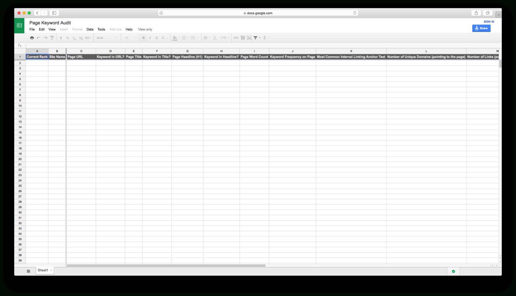 Internal Audit Tracking Spreadsheet For Keyword Tracking Spreadsheet • Kai Davis