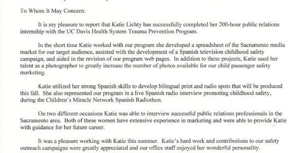 Internship Spreadsheet Intended For Letter Of Completion – Uc Davis Internship  Kathleen Lichty's Work
