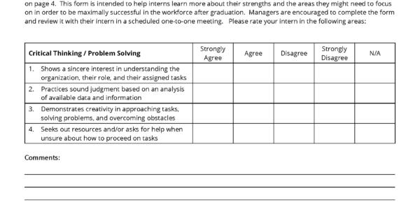 Internship Spreadsheet Pertaining To Intern Performance Evaluation Template – Career  Internship Center