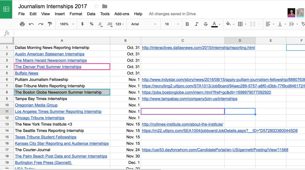 """Internship Spreadsheet With Regard To Stacy Fernandez On Twitter: """"compiled Reporting Internships From"""