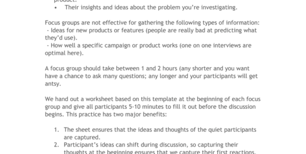 Interview Spreadsheet Template With Focus Group Interview Worksheet