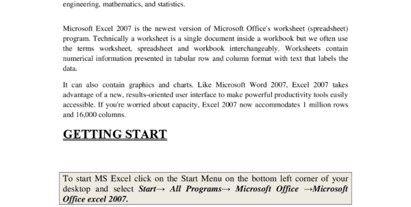 Introduction Of Spreadsheet In Ms Excel For Microsoft Excel 2007Computer Fundamentalslecture Notes  Docsity