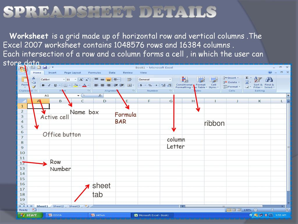 Introduction Of Spreadsheet In Ms Excel Throughout Project On Msexcel.  Ppt Download