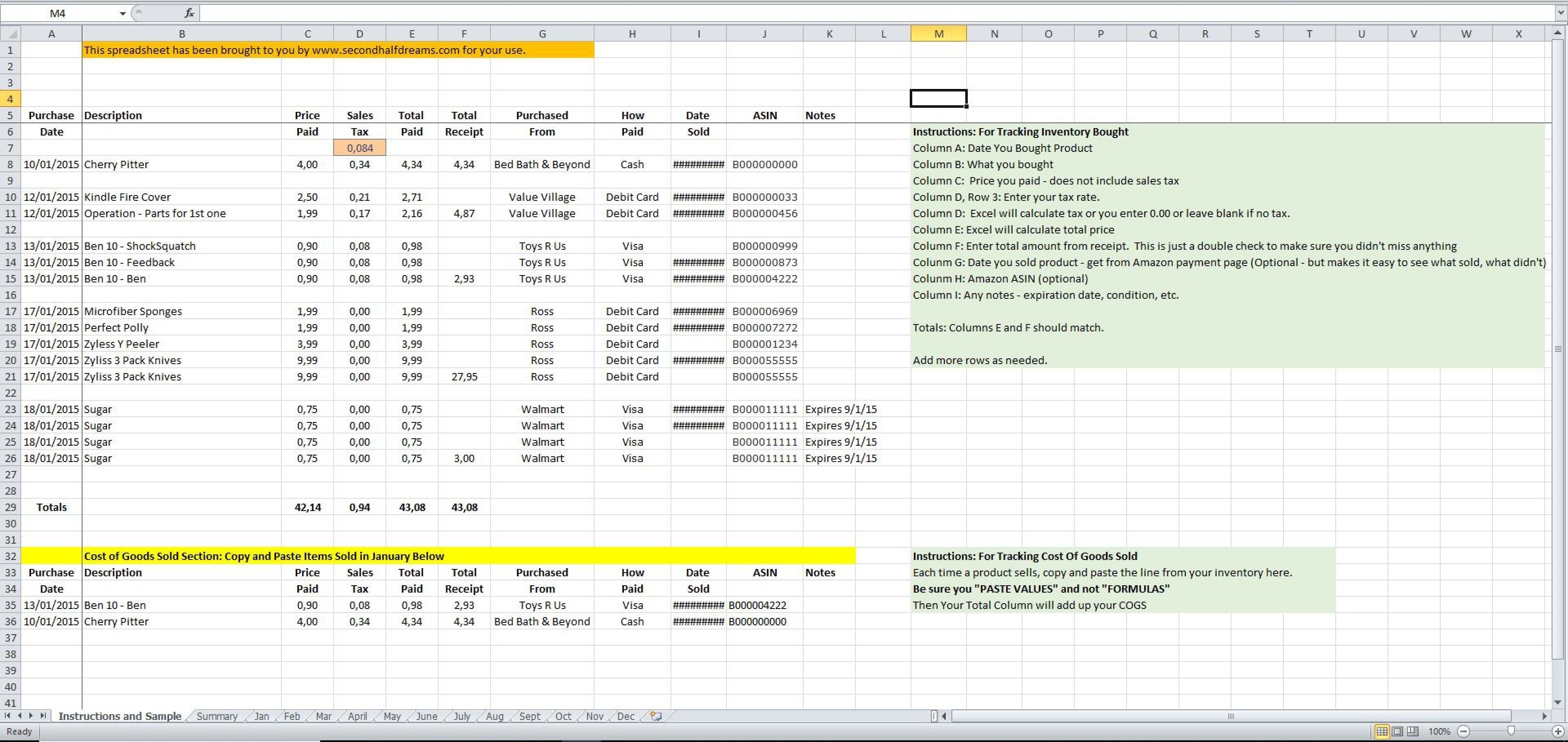 Inventory And Cost Of Goods Sold Spreadsheet Inside Inventory And Cogs Excel Spreadsheet  Eloquens