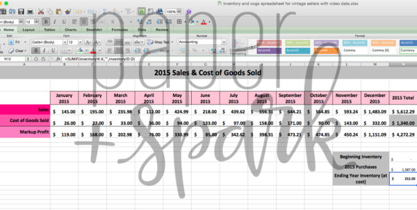 Inventory And Cost Of Goods Sold Spreadsheet With Regard To Inventory For Vintage Seller Spreadsheet  Paper   Spark