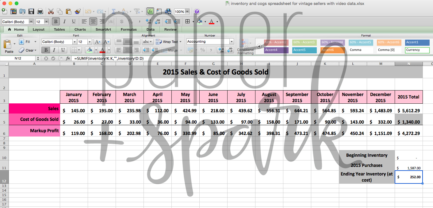 Inventory And Cost Of Goods Sold Spreadsheet With Regard To Inventory For Vintage Seller Spreadsheet  Paper + Spark