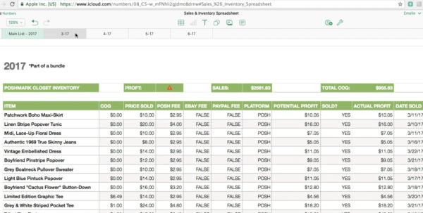 Inventory And Sales Spreadsheet Pertaining To Poshmark/ebay Sales  Inventory Spreadsheet Tutorial On Vimeo
