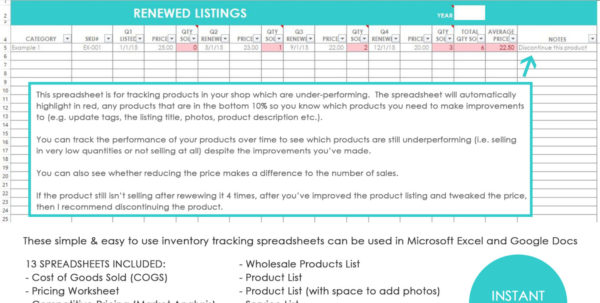 Inventory Ordering Spreadsheet Intended For My Simple And Easy Method For Tracking Product Inventory Using Excel