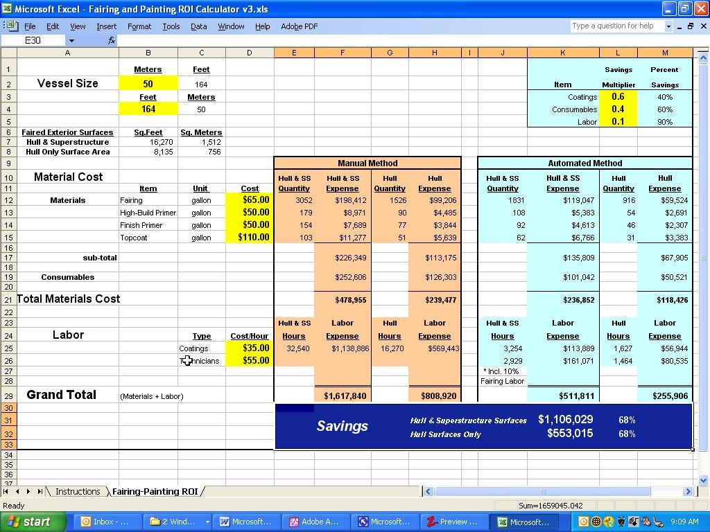 Investment Calculator Spreadsheet Within Visions East Return On Investment Calculator Ro ~ Epaperzone