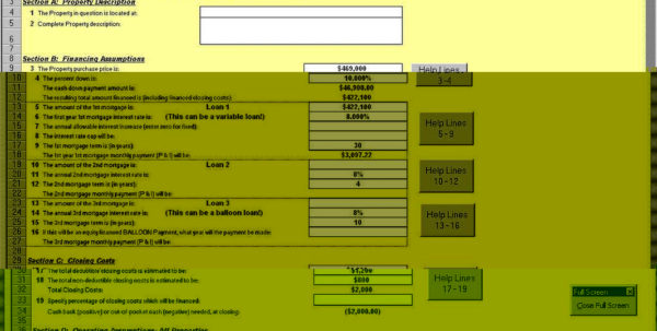 Investment Property Cash Flow Spreadsheet With Regard To Investment Property Cash Flow Analysis Spreadsheet